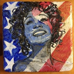 Whitney Houston hand painted marble tile